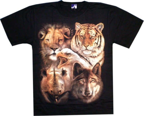 T-Shirt - Tiger, Löwe, Wolf, Nashorn - Glow in the dark-