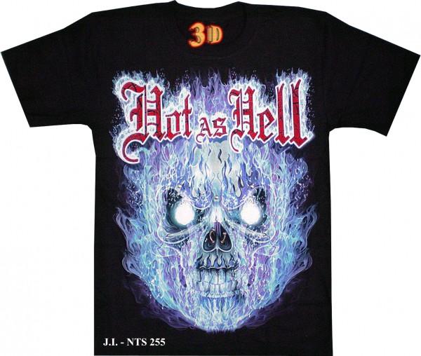 T-Shirt - Totenkopf - Skull in Flammen - Hot as Hell - Glow in the dark mit Nieten + Nasen-Piercing