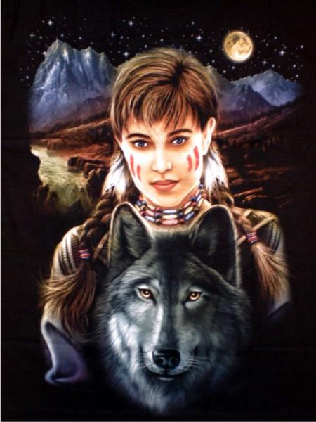 T-Shirt - Indianer, Wolf - beidseitig farbig bedruckt
