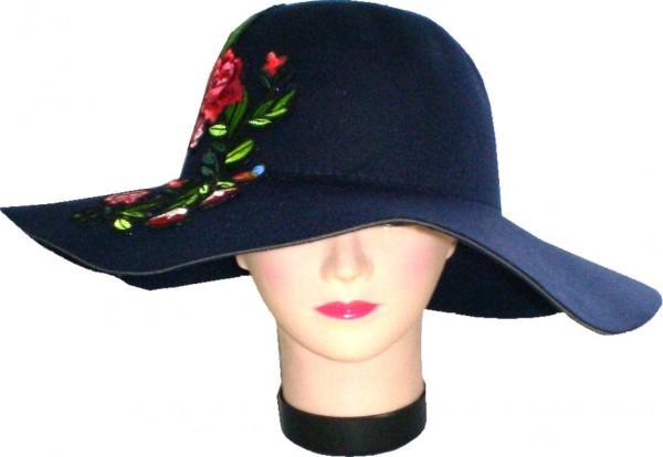 IQ 2054 Damenhut Schlapphut mit Blumen/Blüten-Applikation - Badget