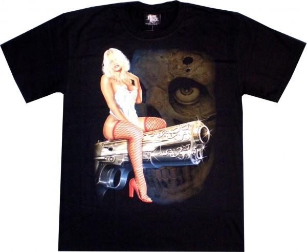 T-Shirt - Frau auf Pistole - Glow in the dark
