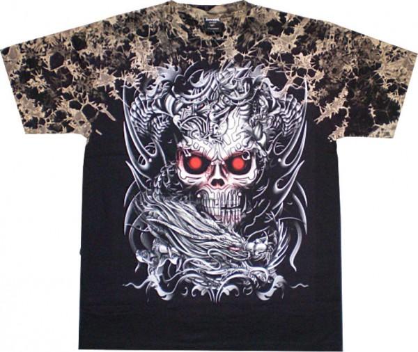 T-Shirt - Batik-Shirt - Totenkopf - Skull red Eyes - mit Nieten