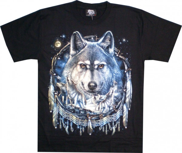 T-Shirt - Wolf im Traumfänger - Glow in the dark mit Nieten