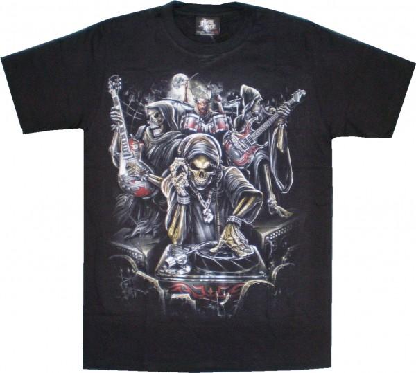 GTS 137 - T-Shirt - Skull DJ mit Band - Glow in the dark