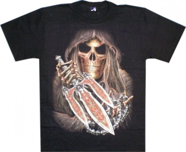 T-Shirt - Skull mit Dreizack - Glow in the dark