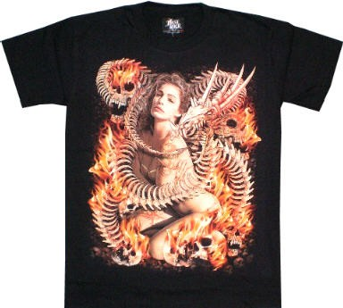 T-Shirt - Frau in Skulls - Glow in the dark