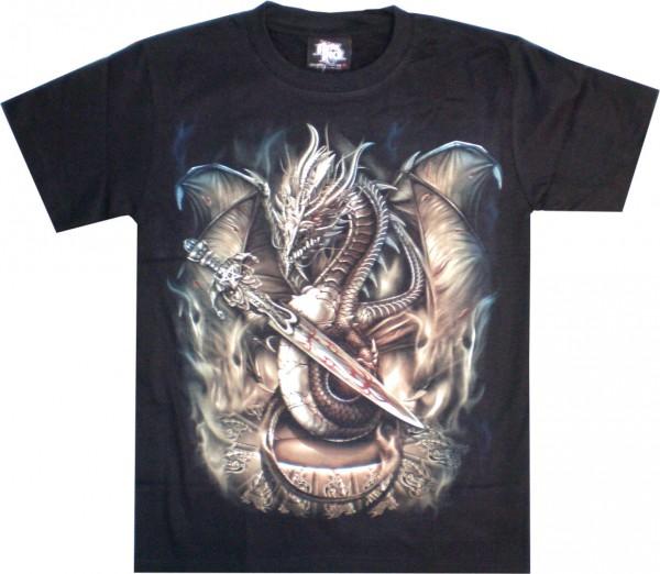 T-Shirt - Drache mit Schwert - Glow in the dark
