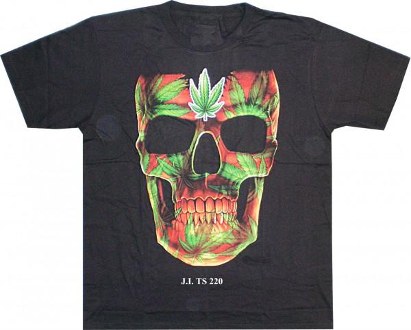 T-Shirt Skull/Totenkopf mit Hanfblatt