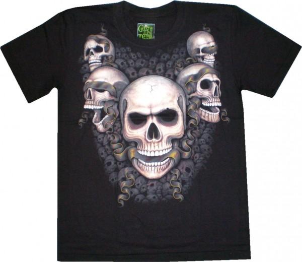 ETS 25 - T-Shirt mit Totenköpfen - Skulls - beidseitig farbig bedruckt - Glow in the dark