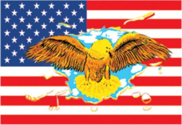 Länderfahne USA mit Adler