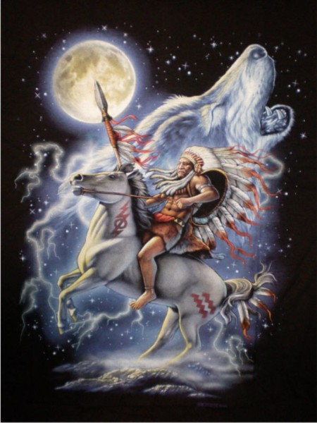 T-Shirt Indianer mit Pferd und heulendem Wolf
