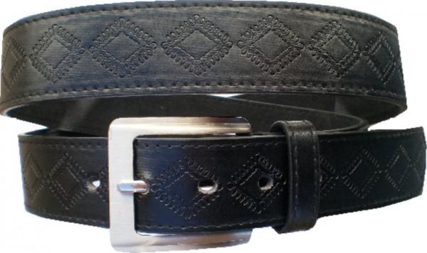 KGL 2126 - Gürtel / Kunstledergürtel / PU-Gürtel gemustert in 3,8 cm, schwarz