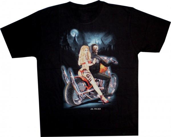 T-Shirt Skull auf Bike mit Beifahrerin