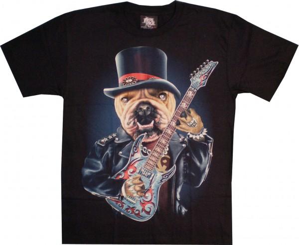 T-Shirt - Hund - Dog - Leader of the band - Glow in the dark mit Nieten