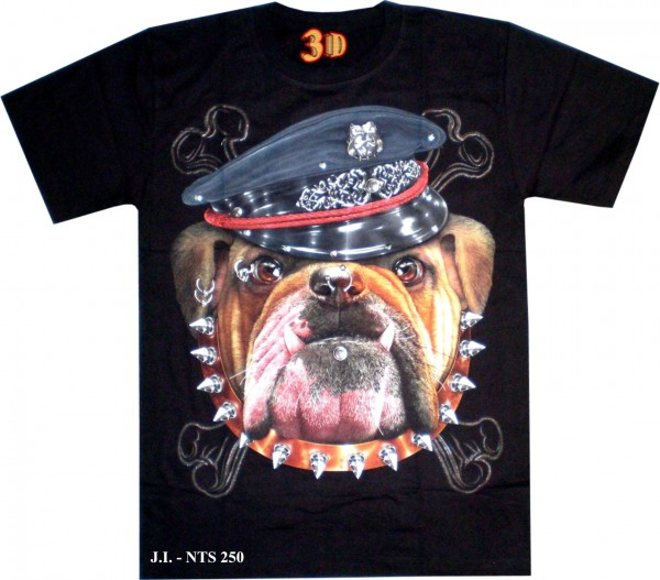 T-Shirt - Hund - Bulldogge mit Nietenhalsband - 3D Glow in the dark mit Nieten
