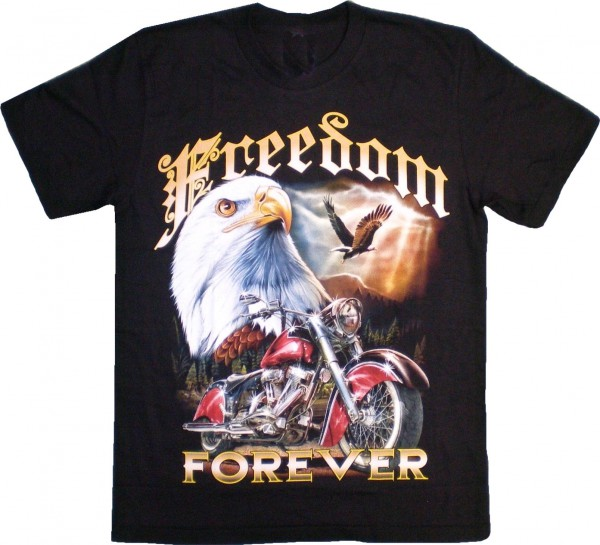 """ETS 12 - T-Shirt mit Adler """"Freedom forever"""" - beidseitig farbig unterschiedlich bedruckt"""