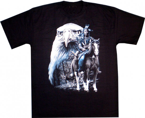 T-Shirt - Indianer und Adler- Glow in the dark