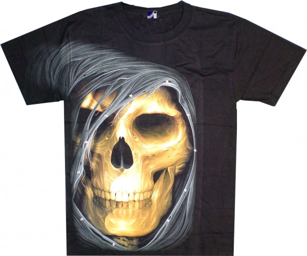 T-Shirt - Skull mit Kapuze - Glow in the dark mit Nieten