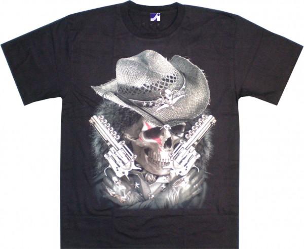 T-Shirt - Western-Skull - Glow in the dark