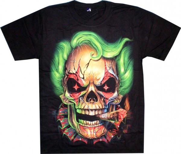 T-Shirt - Totenkopf - Skull mit grünen Haaren- Glow in the dark mit Nieten und Nasen-Piercing