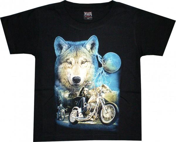 Kinder T-Shirt mit Wolf und Bikern
