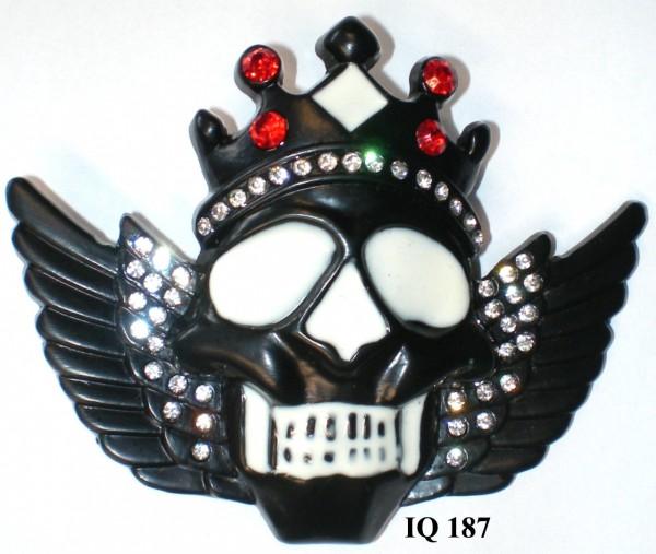 IQ 187 - Gürtelschnalle mit Strass - Skull mit Krone