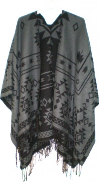 IQ 1757-5 Poncho - Schal - Wendeponcho - Cape - Tuch - im Ethno-Muster