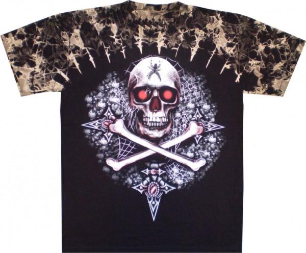 T-Shirt - Batik-Shirt - Totenkopf - Skull and bones - mit Nieten