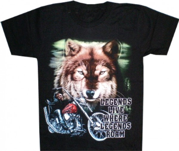 T-Shirt Wolf und Bike - Legends live