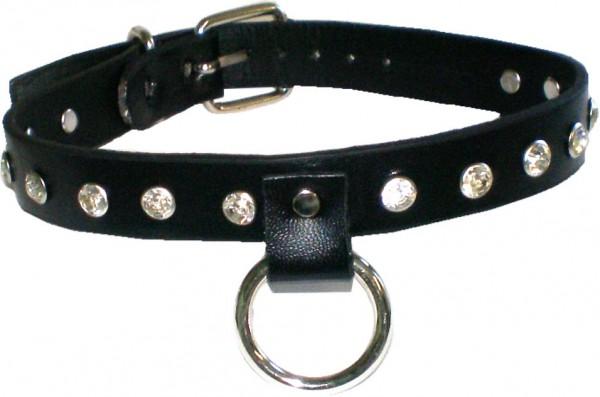 NHB 1740 - Nieten-Halsband - Nieten-Halskette mit 14 Kristallnieten + Ring