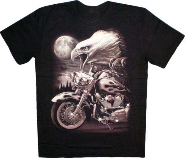 ETS 14 - T-Shirt mit Adler + Bike - beidseitig farbig mit unterschiedlichen Motiven bedruckt