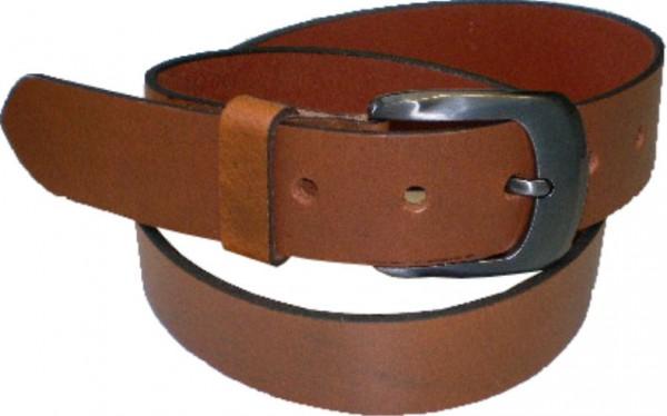 ILC CH7 - Ledergürtel - 4 cm breit - braun mit dunkelsilberner Schnalle-Copy