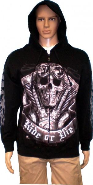 SJ063 - Jacke Sweatshirtjacke Hoody Biker Gothic - beidseitig farbig bedruckt -