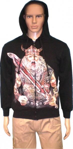 SJ062 - Jacke Sweatshirtjacke Hoody Biker Gothic - beidseitig farbig bedruckt -- Wikinger