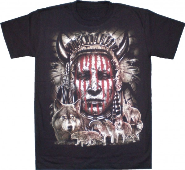 T-Shirt - Indianer mit Wolfsrudel - Glow in the dark