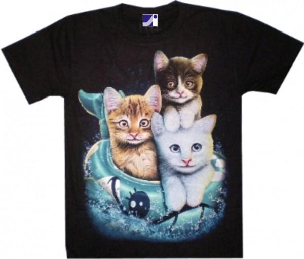 T-Shirt - Katzenkinder Kitten - Glow in the dark