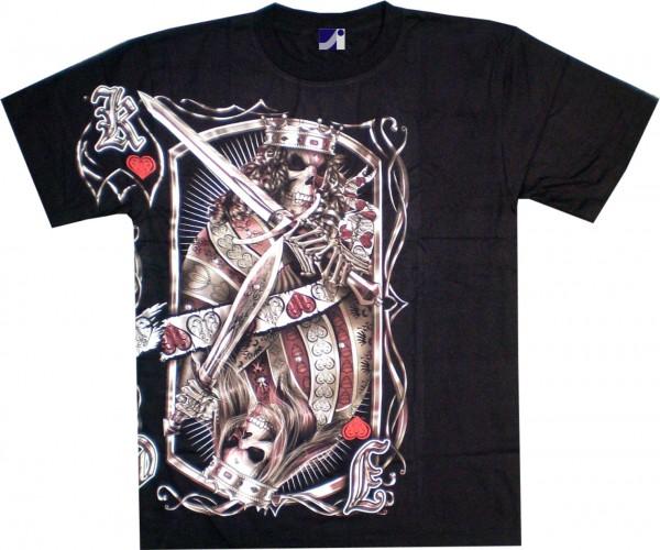 T-Shirt - Totenkopf - Skull in Spielkarten- Glow in the dark mit Nieten