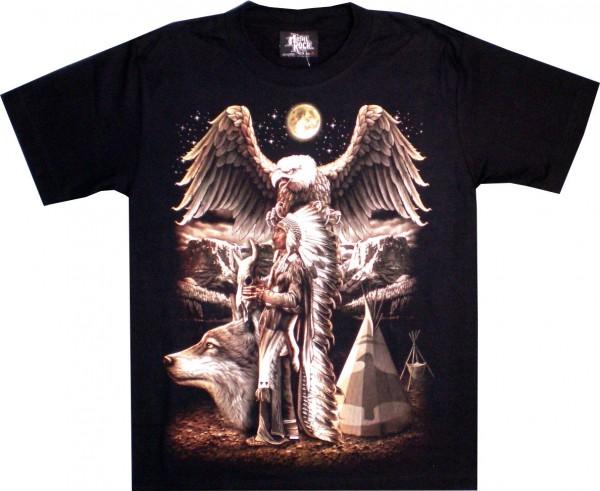 TS 136 - T-Shirt - Adler, Indianer, Wolf - beidseitig farbig bedruckt