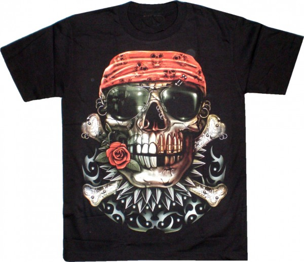 T-Shirt - Skull mit Bandana - Glow in the dark