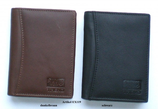 EX119 - Geldbörse, Lederbörse, Portemonnaie echt Leder - Hochformat - schwarz, dunkelbraun