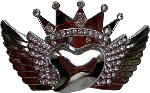 IQ 191 - Gürtelschnalle mit Strass - Herz mit Krone