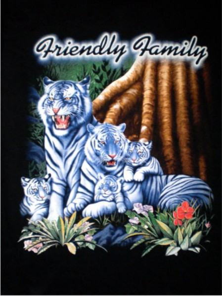 T-Shirt mit weißen Tigern - Friendly family