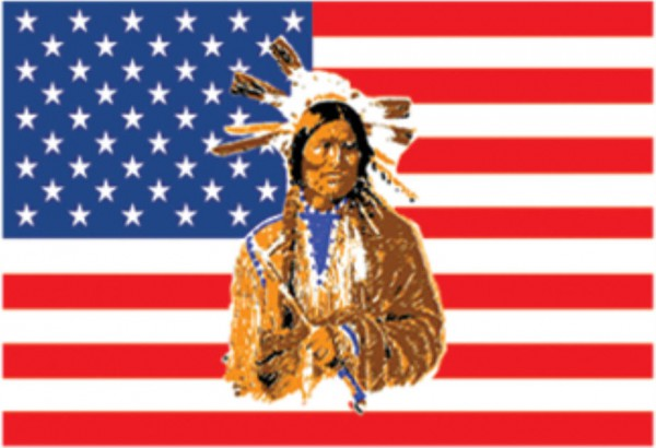 Länderfahne USA mit Indianer