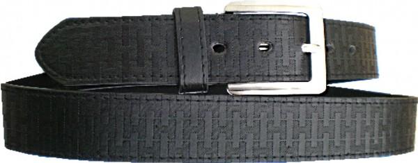 KGL 2123 - Gürtel / Kunstledergürtel / PU-Gürtel gemustert in 3,8 cm, schwarz
