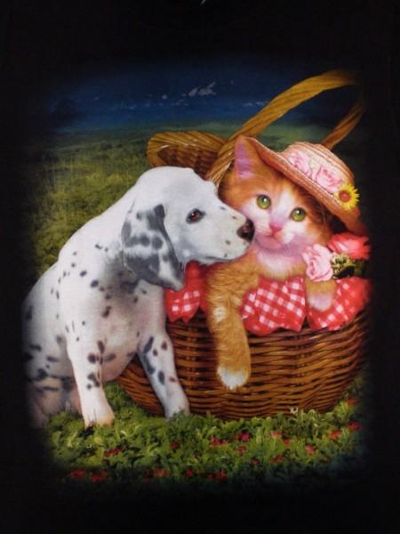 T-Shirt - Hund und Katze - Dalmatiner + Katze - beidseitig farbig bedruckt