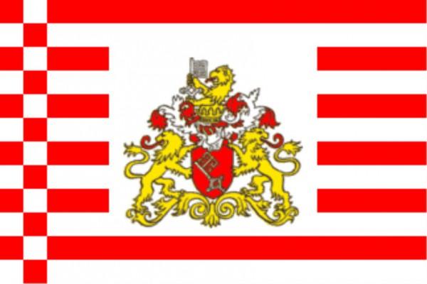 Länderfahne Bremen mit Wappen