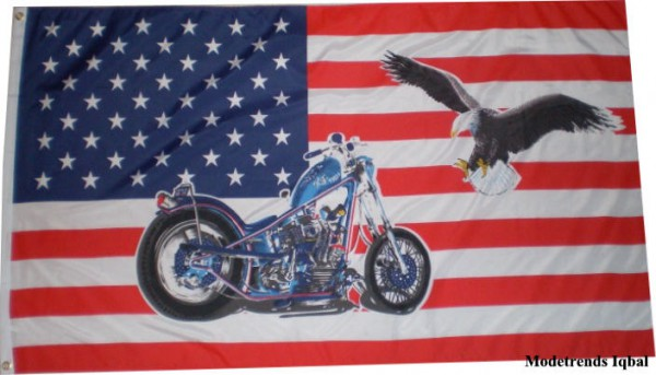 Länderfahne USA mit Bike/Eagle