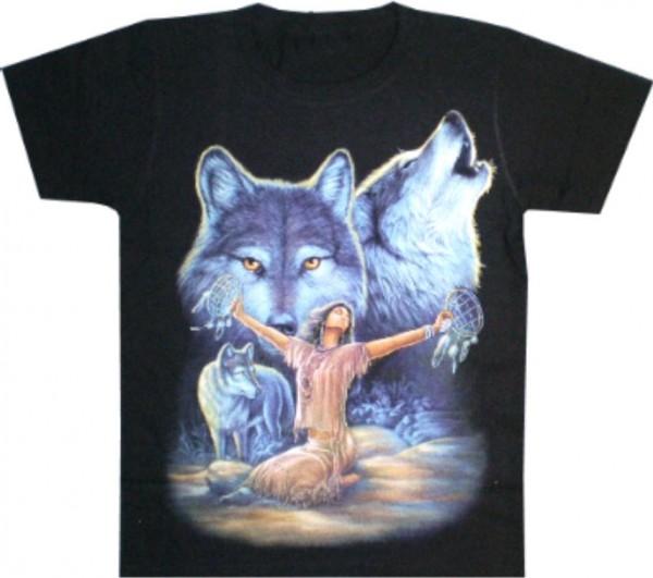 T-Shirt Indianerin mit Wölfen