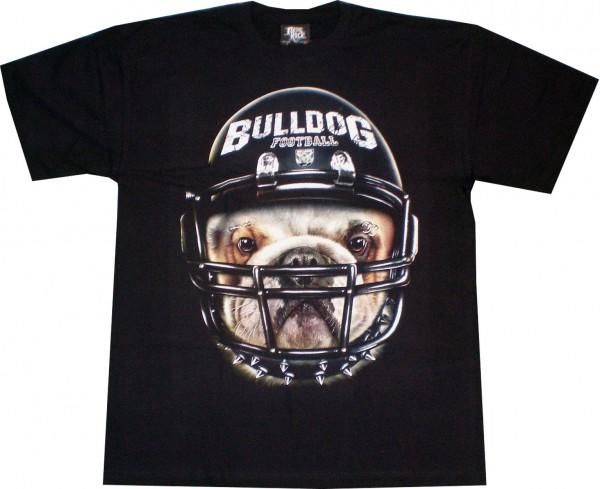 T-Shirt - Hund - Bulldog - Football - Glow in the dark mit Nieten + Piercing