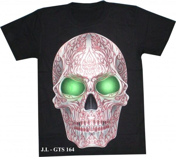 T-Shirt - Skull mit grünen Augen - Glow in the dark